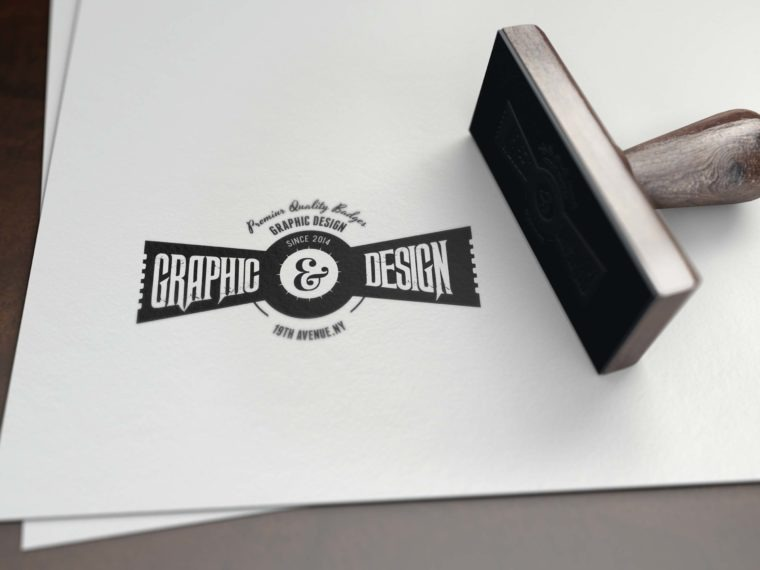 Logo Mockup on White Paper Stamp Mockup