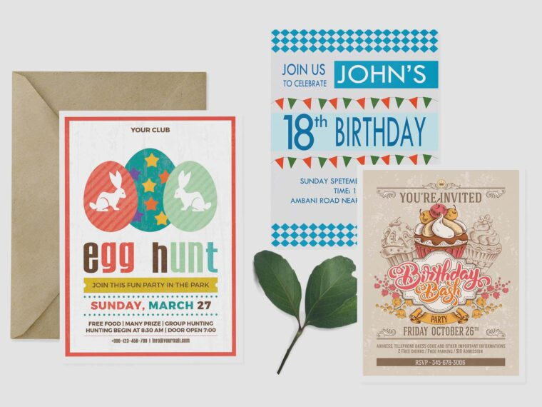 Birthday Invitation Card Mockup