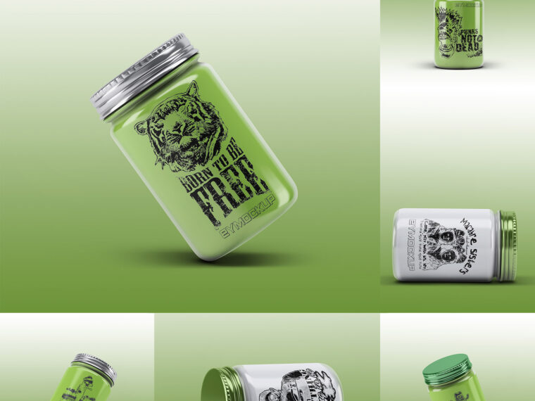 Glass Powder Jar Mockup
