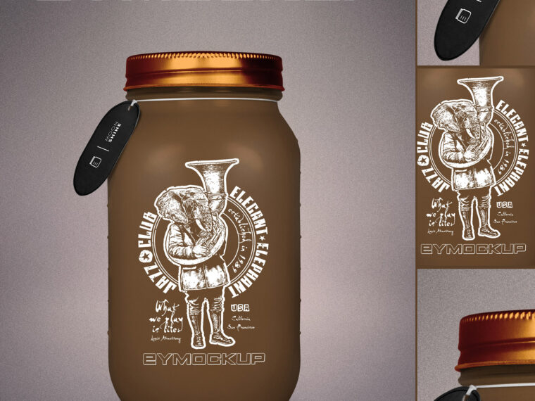 Chocolate Glass Bottle Mockup