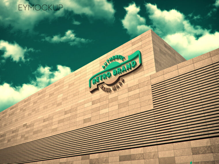 Big Building 3D Logo Mockup