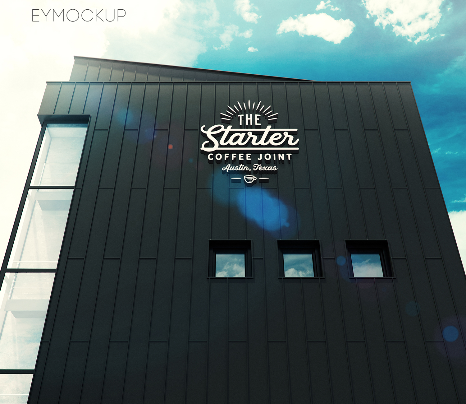Black building sky 3d logo mockup eymockup for 3d garage builder