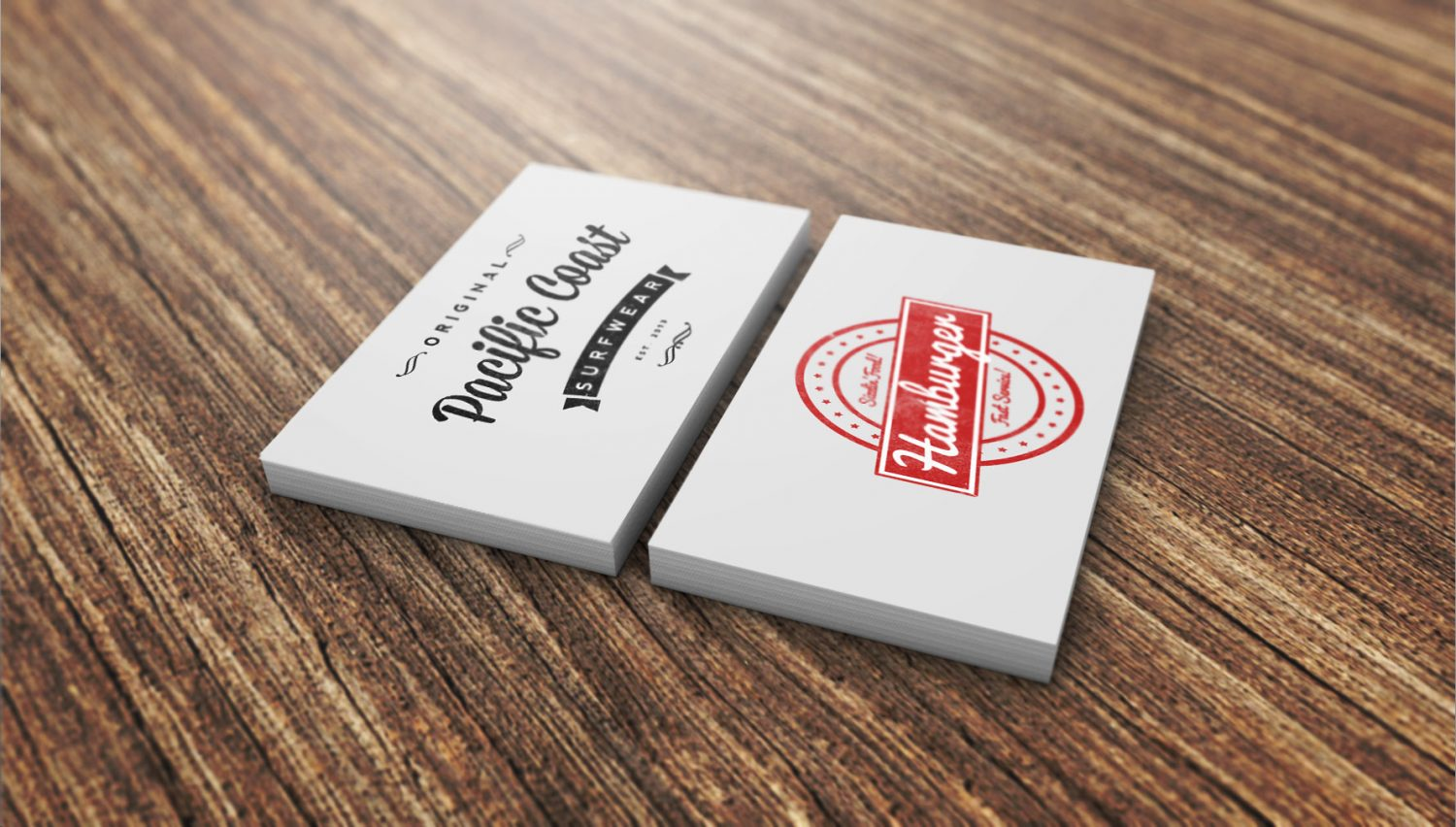 Red business card mockup