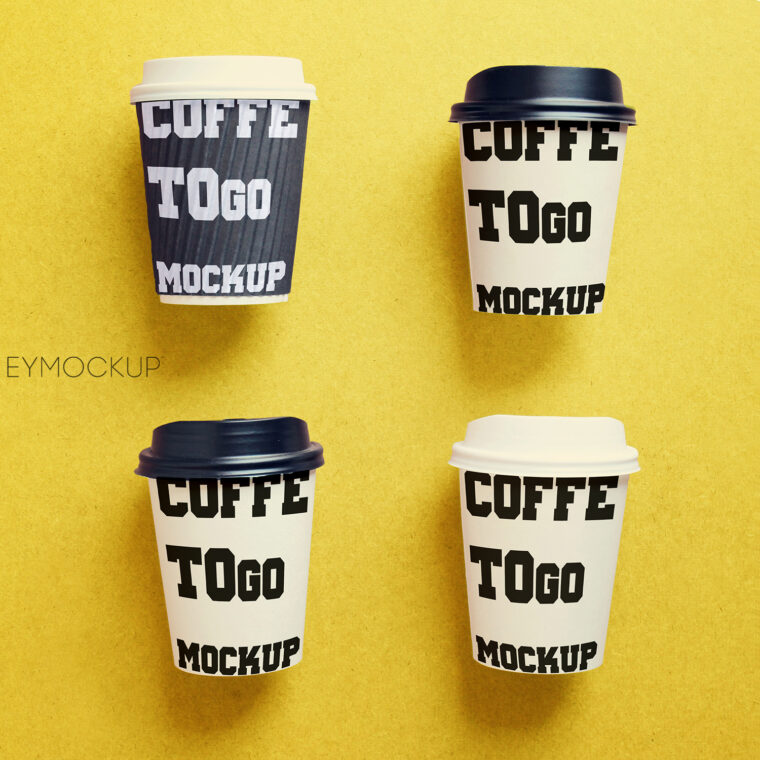 Paper coffee cup mock up for identity branding with retro filter