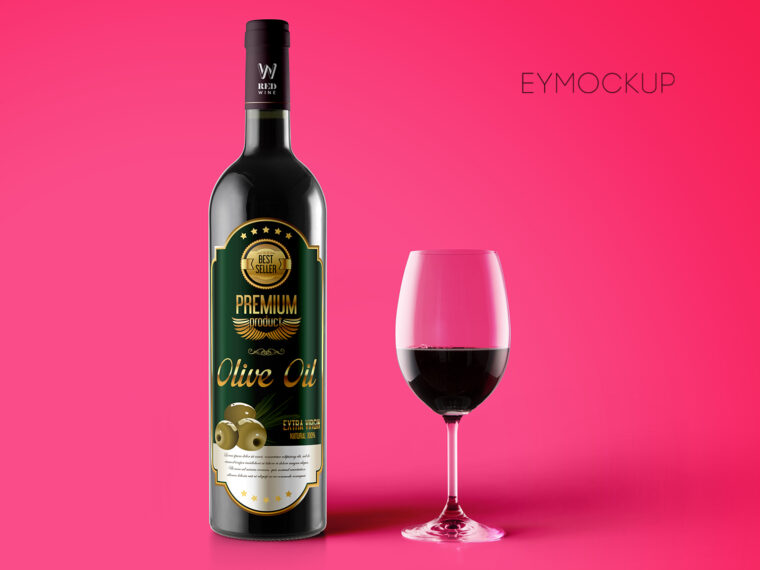 Red Black Wine Bottle Label Mockup
