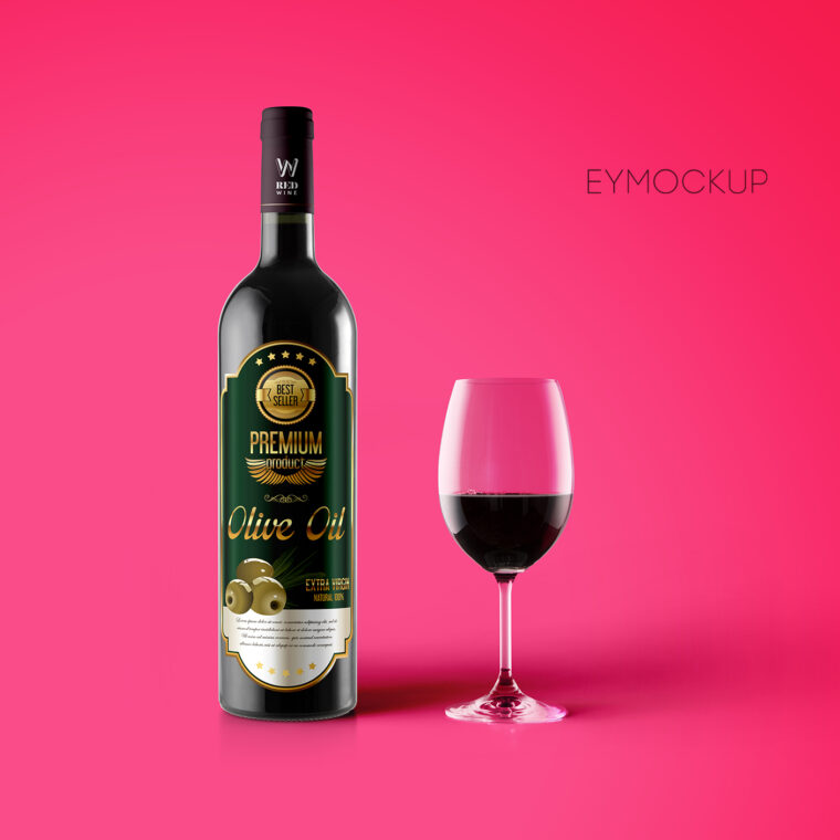 Wine Bottle Label Mockup