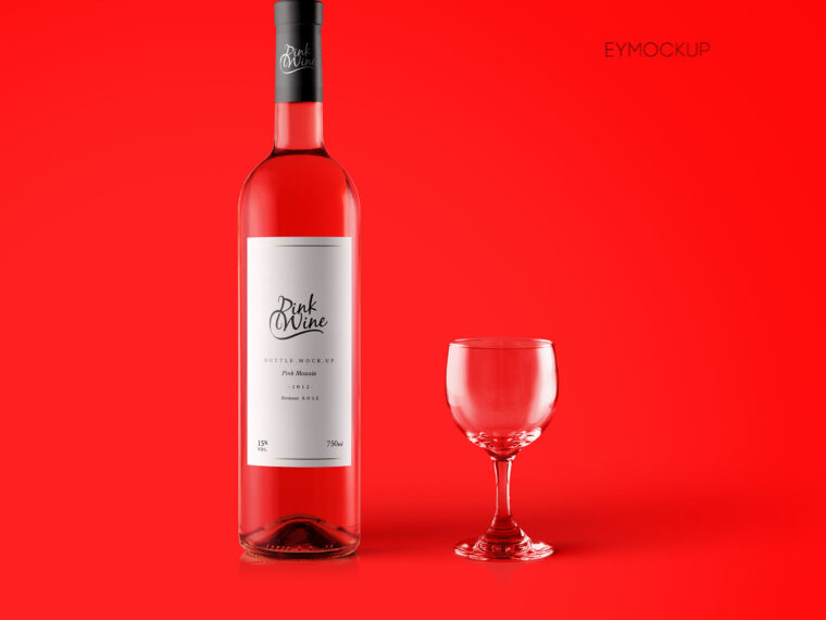 Red Wine Bottle Label Mockup