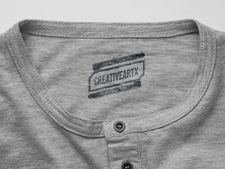 Tshirt Neck Top Label Mockup