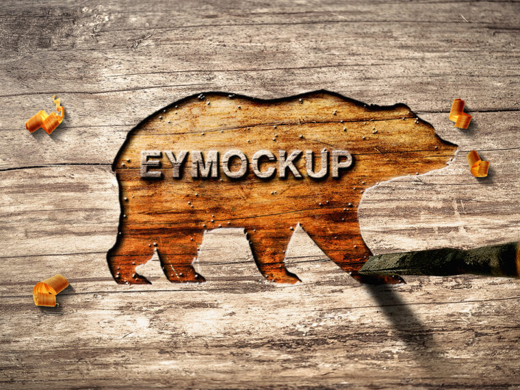 Wooden Cut art Work Mockup