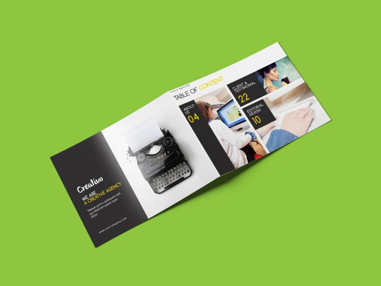 Bifold Rectangle Brochure Mockup