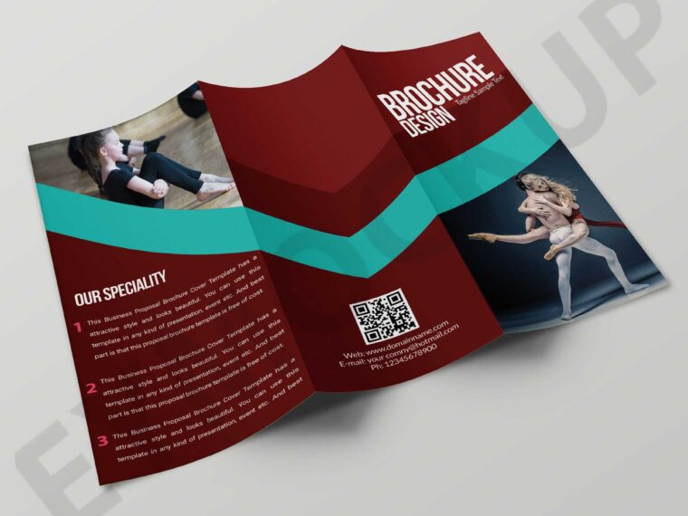Tri-Fold Dancing Coaching Brochure Template
