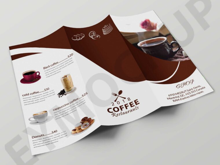 Premium Cafe Coffee Tri-Fold Brochure Template