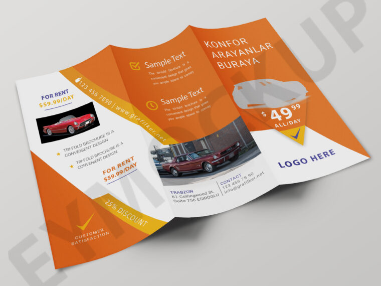 Rent Car Tri-Fold Templates