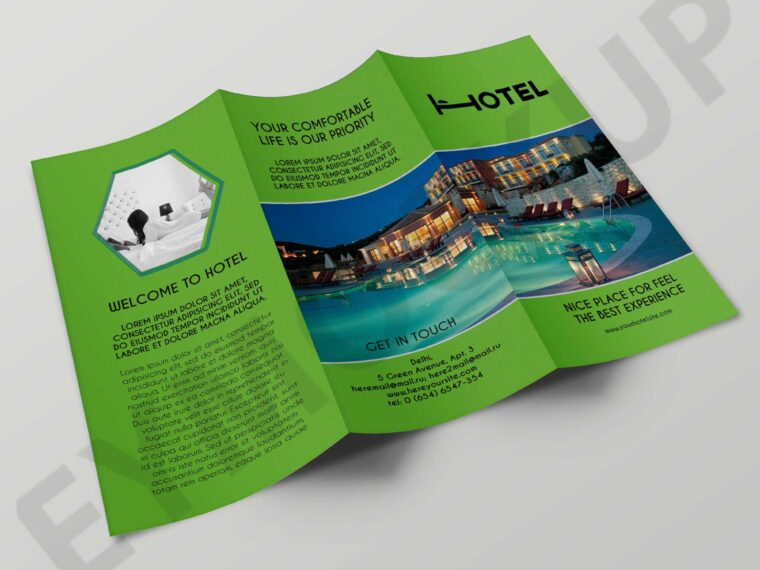 Real Estate Hotel Tri-Fold Brochure Template