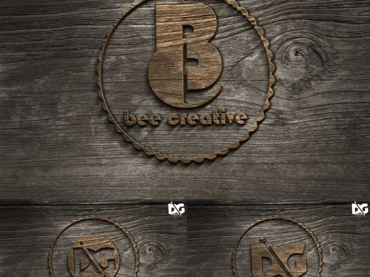 Realistic Old Bevel Logo Mockup
