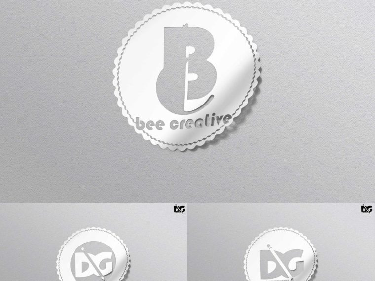 White Sticker PSD  Logo Mockup
