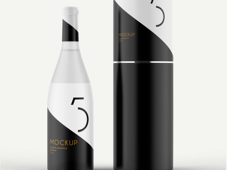 Blacky Wine Bottle Packaging Mock-up