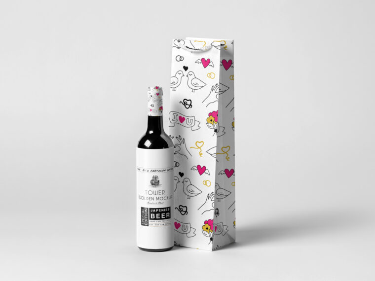 Premium Wine Hanging Bag Design Mockup