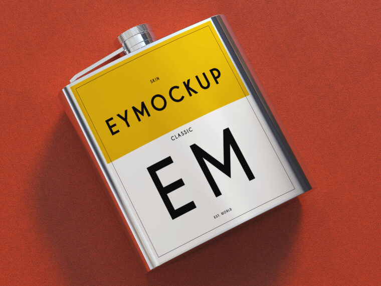 Coolest Flask Label Presentation Mockup