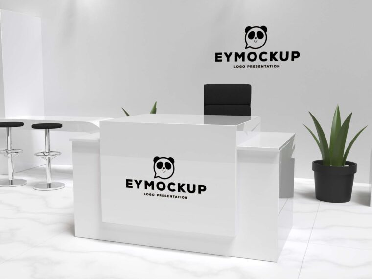 Premium Hotel Reception Table Logo Mockup