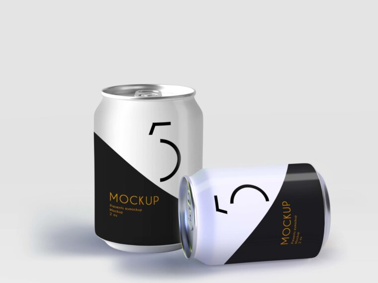 Premium Small Juice Can Label Mockup