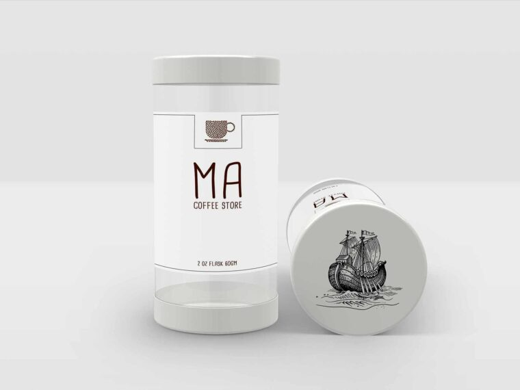 Round Plastic Flask Label Mockup