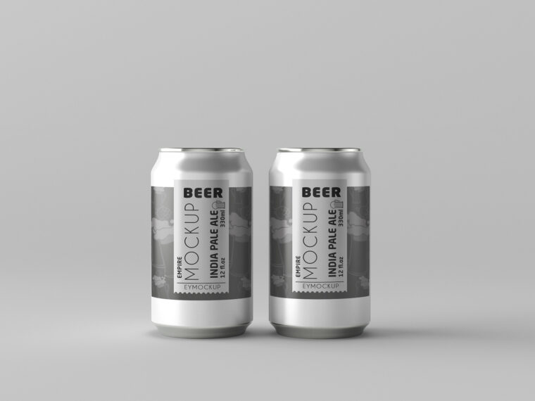 Round Small Beer Can Label Mockup For Presentation