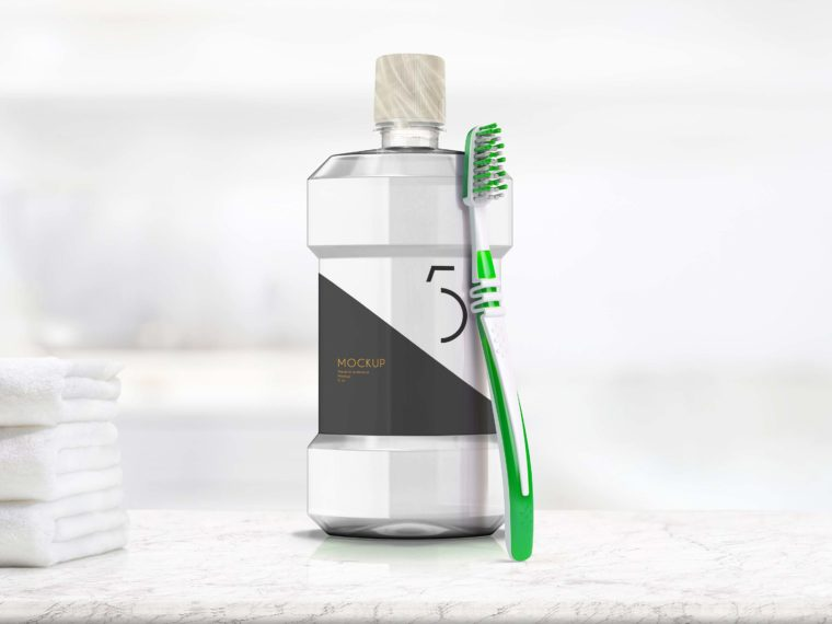 Tooth Brush Clean Bottle Mockup