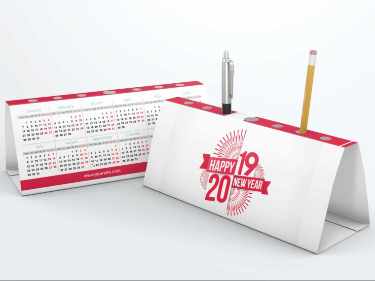 Beautiful Pen Holder Desk Calender Mockups