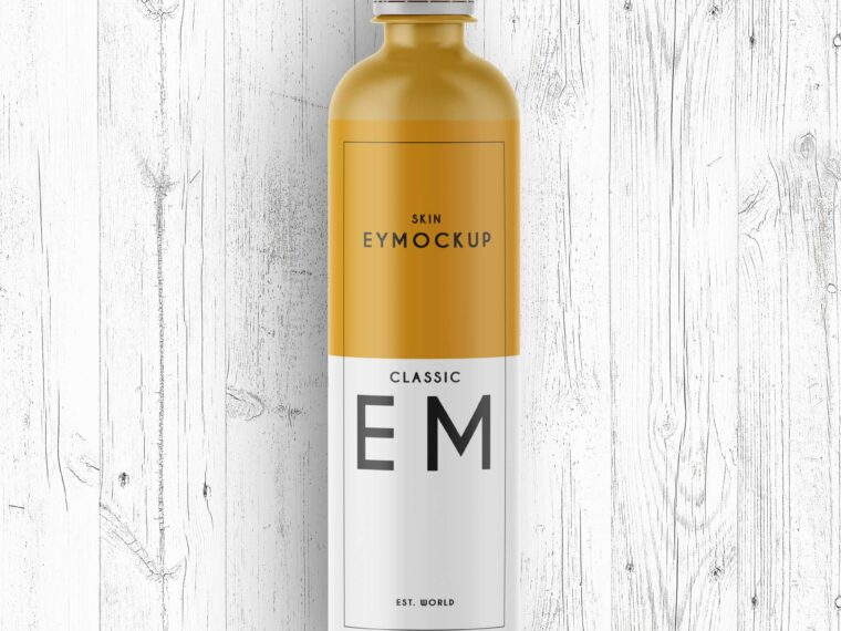Long Matte Premium Bottle Label Mockup
