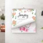 Square Wall Hanging Calendar Design Mockup