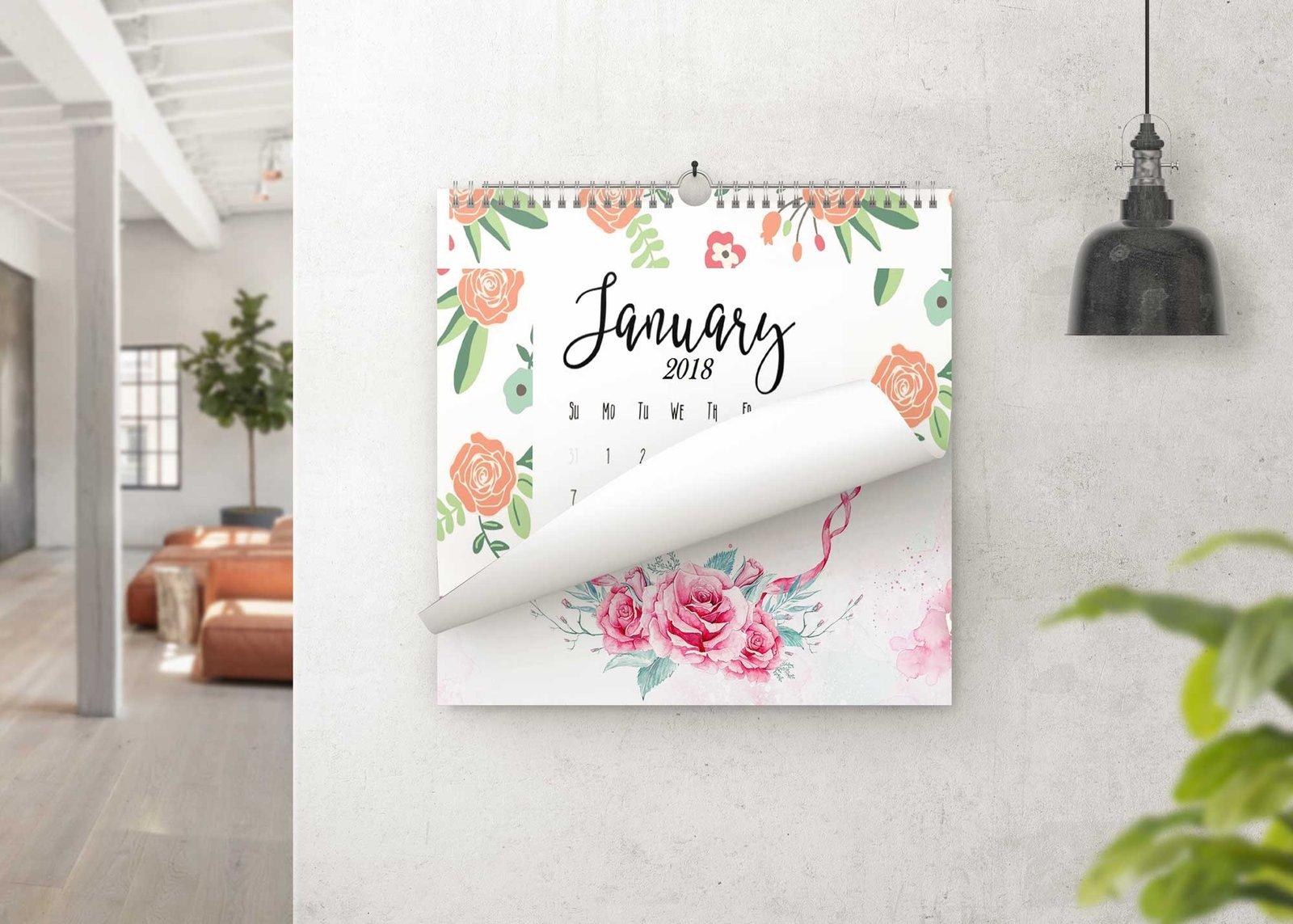 Square Wall Hanging Calendar Design Mockup | eyMockup