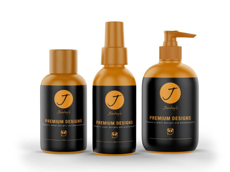Three Cosmetic Bottle Label Mockup For Presentation