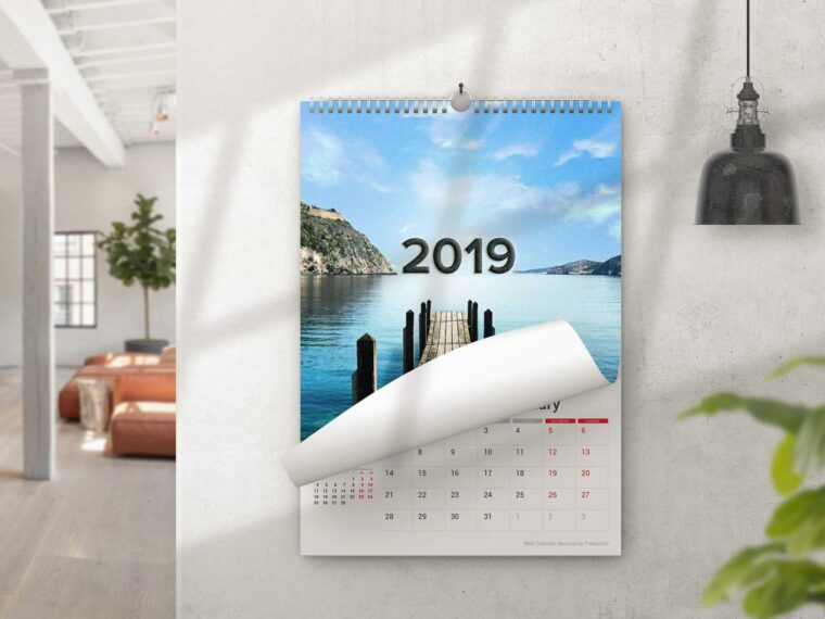 Home Wall Calendar Design Mockup