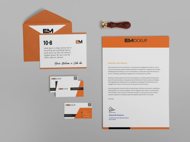 Pure Beautiful Envelope Design Mockup