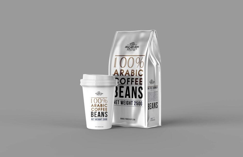 Silver Coffee Packaging Mockup