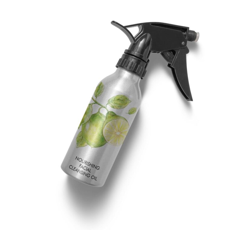Hair Salon Face Oil Spray Bottle Label Mockup