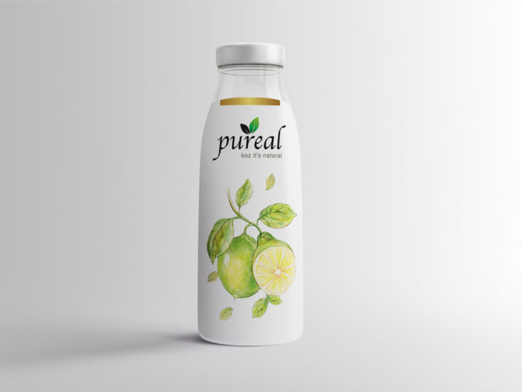 Pure Real Juice Glass Bottle Mockup