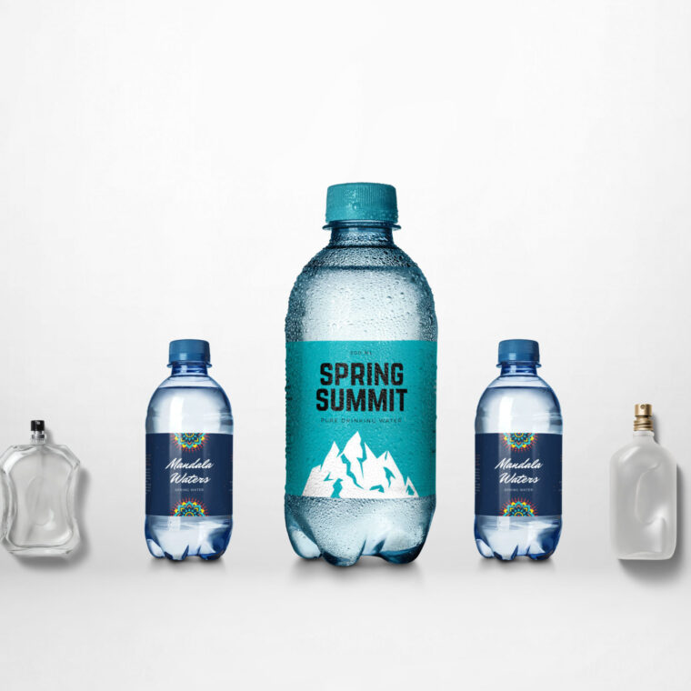 Mini Water Bottle Label Design Mockup