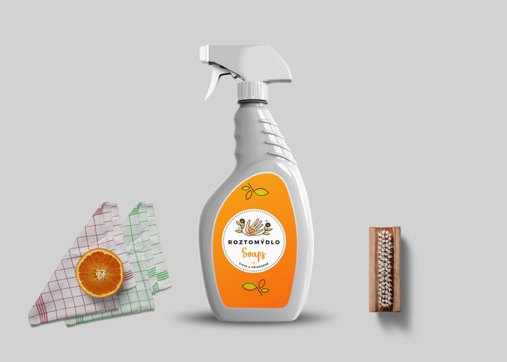 Premium Glass Cleaning Spray Bottle Mockup