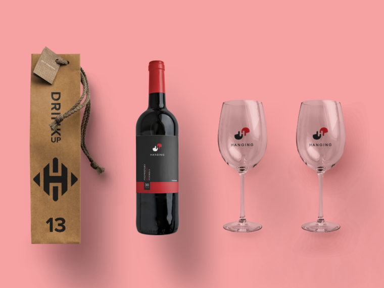 Premium Wine Bottle Label Mockup 2019