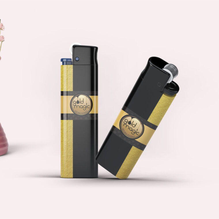 Gold Cigarette Lighter Mockup