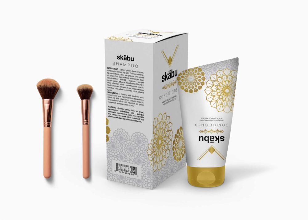 Golden Cream Packaging Mockup