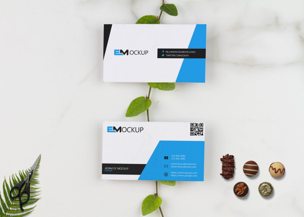 Latest Green Business Card Mock Up