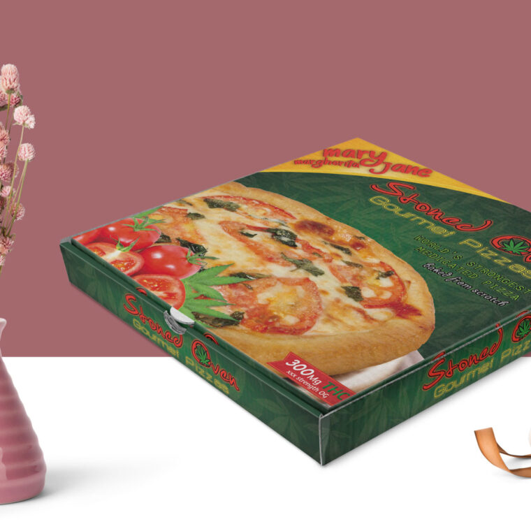 Pizza Box Packaging Label Mockup