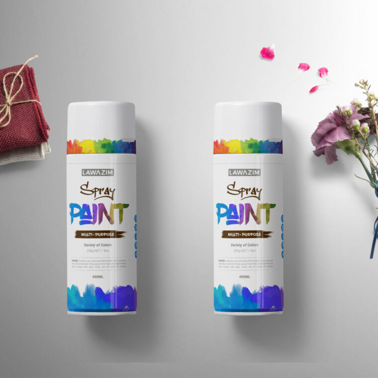 Spray Can Bottle Label Mockup