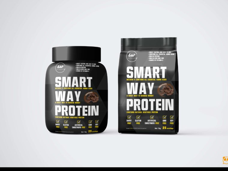 Smart Whey Protein Packaging Mockup