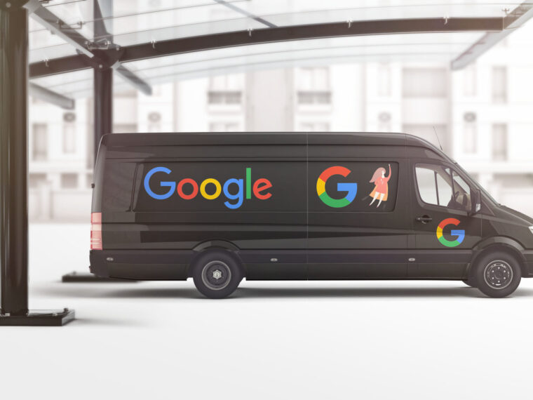Black Google Car Wrap Design Mockup