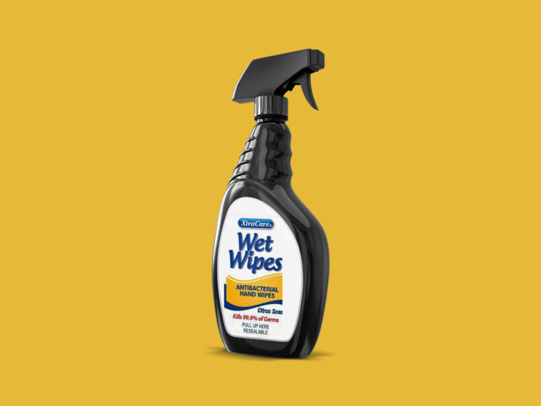Black Plastic Cleaning Spray Mockup