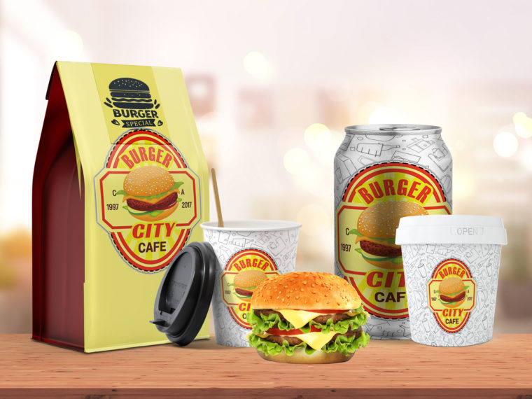 Burger Combo Packaging Scene Mockup